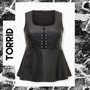 Torrid Size 00 or 10 Black Faux Leather Lace-Up